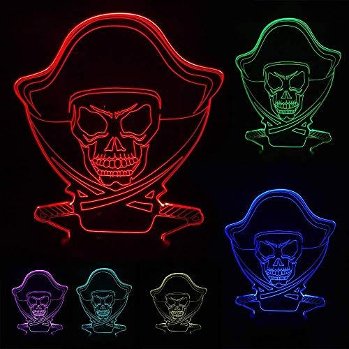 Pirate Style Nacht Licht 3D Illusie lamp 7 Soorten Kleur Veranderende Decoratieve Lichten. Kinderspeelgoed Gift memo riem