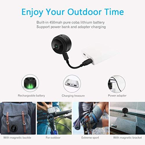 Mini Caméra Espion WiFi, ieGeek Caméra Cachée Full HD 1080p Portable sans Fil Caméra de Surveillance avec Vision Nocturne et Détection de Mouvement - Compatible iPhone / Android / Windows
