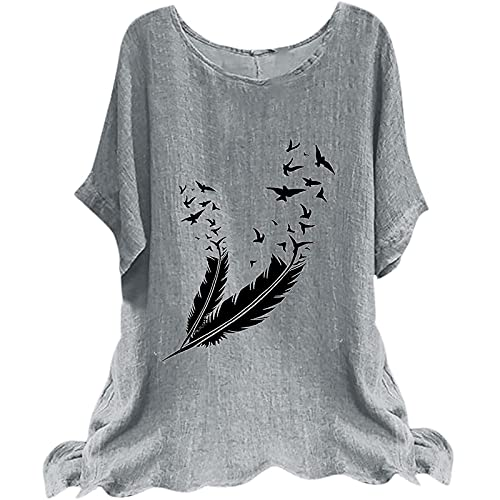 Dasongff Camiseta de verano para mujer, de manga corta, para el tiempo libre, con estampado floral, básico, cuello redondo, blusa suelta, elegante, blusa de manga corta, informal