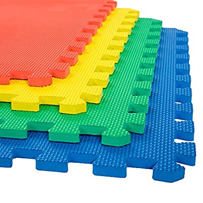 Stalwart Foam Mat Floor Tiles, Interlocking EVA Foam Padding Soft Flooring for Exercising, Yoga, Camping, Kids, Babies, Playroom – 4 Pack