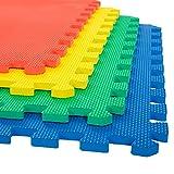 Stalwart Foam Mat Floor Tiles, Interlocking EVA Foam Padding Soft Flooring for Exercising, Yoga, Camping, Kids, Babies, Playroom – 4 Pack, 24' X 24' X 0.5'
