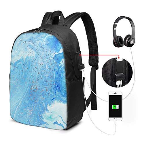 WEQDUJG Mochila Portatil 17 Pulgadas Mochila Hombre Mujer con Puerto USB, Ágata Marmolada Dorada 35 Mochila para El Laptop para Ordenador del Trabajo Viaje