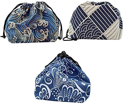 yxx Bolso de Almuerzo de Lino de algodón con cordón de Estilo japonés Estilo bento Caja Bolsa Bolsa de Picnic Bolso Bolso para Actividades al Aire Libre Bolsa de almuerzos de Viaje (Color : C)