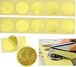 MDLG 100pcs Gold Vintage Embosser Stamp Sealing Blank Certificate Self-Adhesive Stickers (Gold)