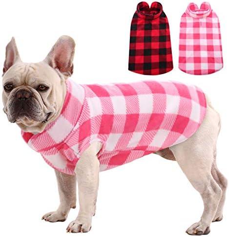 MIGOHI Plaid Dog Shirts Stretch Dog Fleece Vest Soft Classic Warm Dogs Shirt Pullover Dog Coat product image