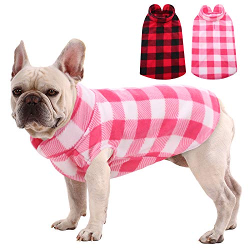 MIGOHI Plaid Dog Shirts, Stretch Dog Fleece Vest, Soft Classic Warm Dogs Shirt Pullover Dog Coat Jacket for Small Medium Dogs & Cats, Pink M