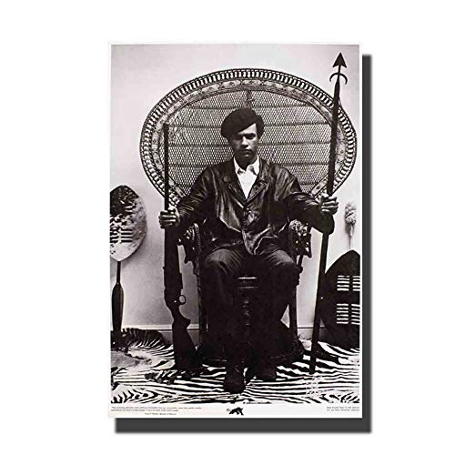 Huey Newton zittend in een rieten stoel kunst poster muur canvas moderne schilderij Decor afdrukken op canvas decoratie in huis -50x75cm geen frame