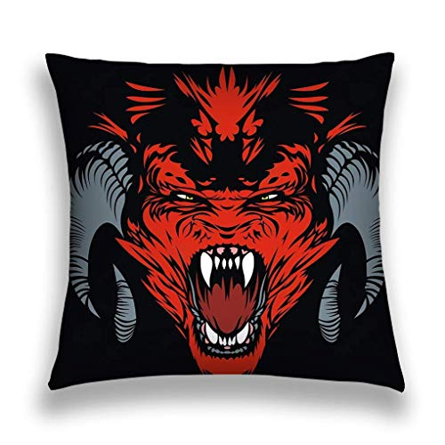 Pillow Covers Decorative in Pillowcase Cushion Covers Zipper red Devil Nice Black Background
