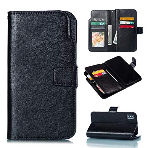 Banaz - Funda de piel para iPhone XS/X Litchi con textura horizontal, con nueve ranuras para tarjetas, cartera y marco de fotos (color: negro)