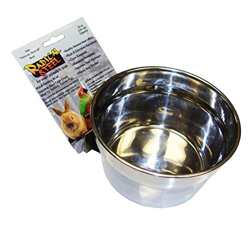 Lixit Quick Lock Cage Bowls for Rabbits, Ferrets, Hamsters, Rats, Guinea Pigs, Chinchillas and Other Small Animals. (20oz, Stainless)
