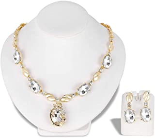 Noble Glass Rhinestone Gold Plated Stones Necklace Earrings Ethnic Jewelry Set