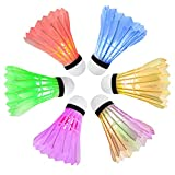 Ohuhu LED Badminton Shuttlecocks Lighting Shuttlecock Glow in The Dark Badminton Birdie for Indoor/Outdoor Sports Activities, 6-Pack
