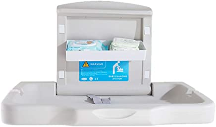 ZAQI Mounted Baby Changing Station Folding Diaper Station with Safety Straps for Commercial Restrooms  White