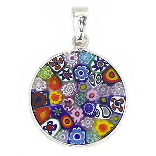 Murano Glas Millefiori Anhänger Halskette Multicolor in Silber Frame 3/4