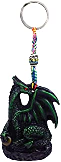 Green Dragon Fantasy Handpainted Figurine Dangle Handmade Keychain Multicolored Braided Macramé Bead Silver Keyring Hanging Ornament Charm Car Bag Accessory