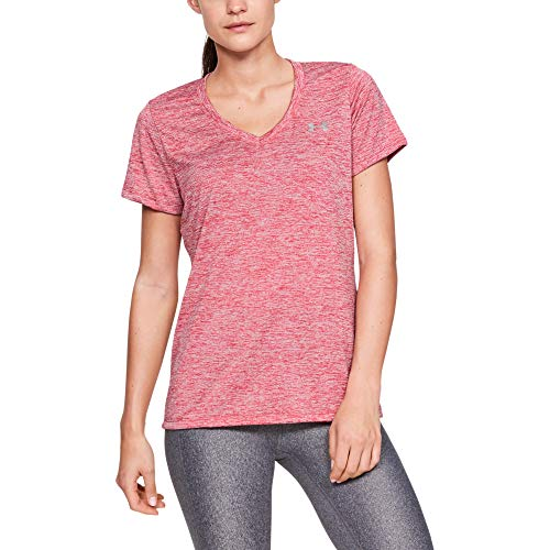 Under Armour Tech Short Sleeve V-Twist, Maglietta Donna, Rosa Fucsia (Impulse Pink), M
