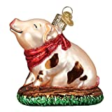 Old World Christmas Piggy in The Puddle Ornament, Pink