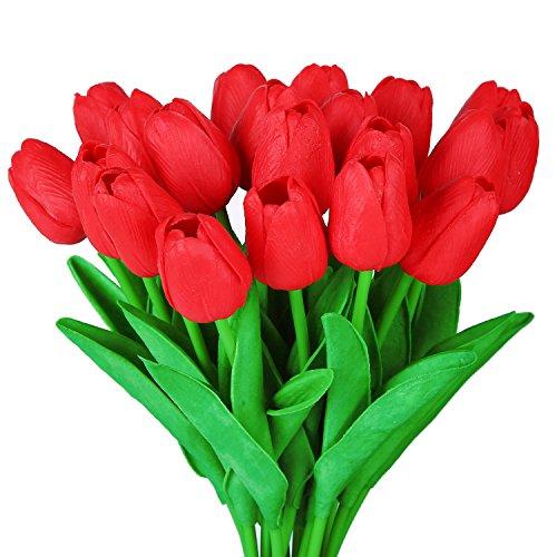GL-Turelifes Tulipanes artificiales realistas en tallo individual de poliuretano, para arreglos florales y decoración, 10 piezas