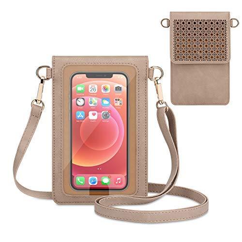 Bolso del teléfono de la pantalla táctil, bolso pequeño del hombro del bolso del teléfono celular del crossbody con 2 correas para las mujeres