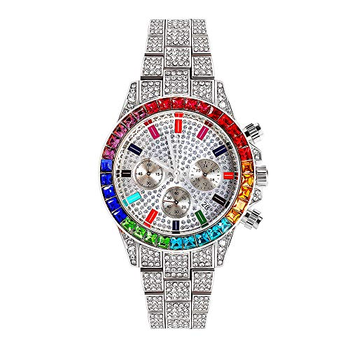 Herren Chronograph Quarzuhr Hip Pop Luxus Iced Out Simulierte Diamant Runden Zifferblatt Kalender Analog Armbanduhr, 40mm Zifferblatt
