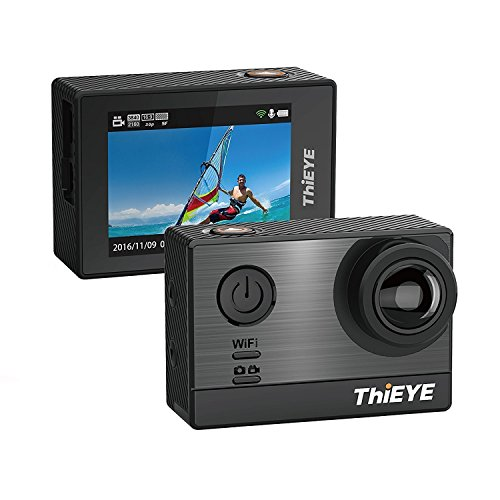 ThiEYE T5e 4k Wifi Action Cam (16MP, 5,08 cm (2,0 Zoll) Display, Sony Sensor, 60m Wasserdicht, 170° Weitwinkel) schwarz