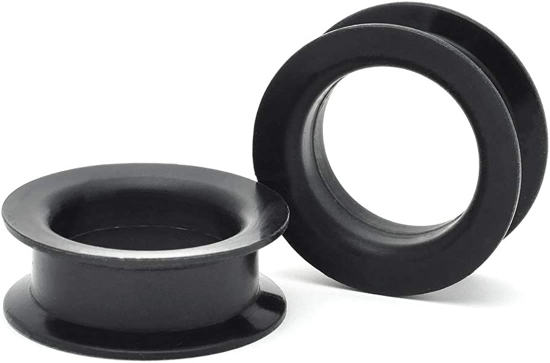 Mystic Metals Body Jewelry Large Gauge Plugs Standard Double Flared Silicone Tunnels (SIL-001)(Black) - Sold As a Pair
