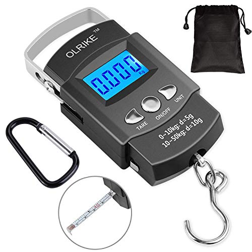 OLRIKE Fishing Scale 110lb/50kg Backlit LCD Screen Portable Electronic Balance Digital Fish Hook Hanging Scale with Measuring Tape Ruler and Carry Bag for Hunting Fishing Postal Kitchen
