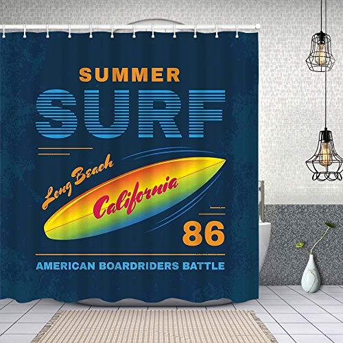 Cortina Baño,American Boardriders Long Beach Sun de pie en la ilustración de Las Olas del océano,Cortina de Ducha Tela de Poliéster Resistente Al Agua Cortinas de Ducha Baño con 12 Ganchos,180x180cm