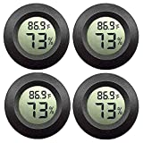 JEDEW 4-Pack Mini Hygrometer Thermometer Digital LCD Monitor Indoor Outdoor Humidity Meter Gauge for Humidifiers Dehumidifiers Greenhouse Basement Babyroom Fahrenheit or Celsius (Black-4 Pack)
