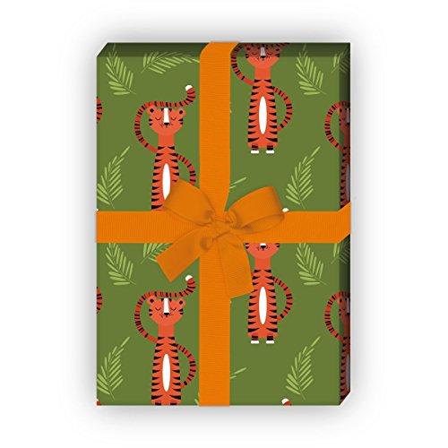 Kartenkaufrausch Cooles Tiger Geschenkpapier Set nicht nur für Kinder, grün, als edle Geschenk Verpackung, Designpapier, scrapbooking, 4 Bogen, 32 x 48cm
