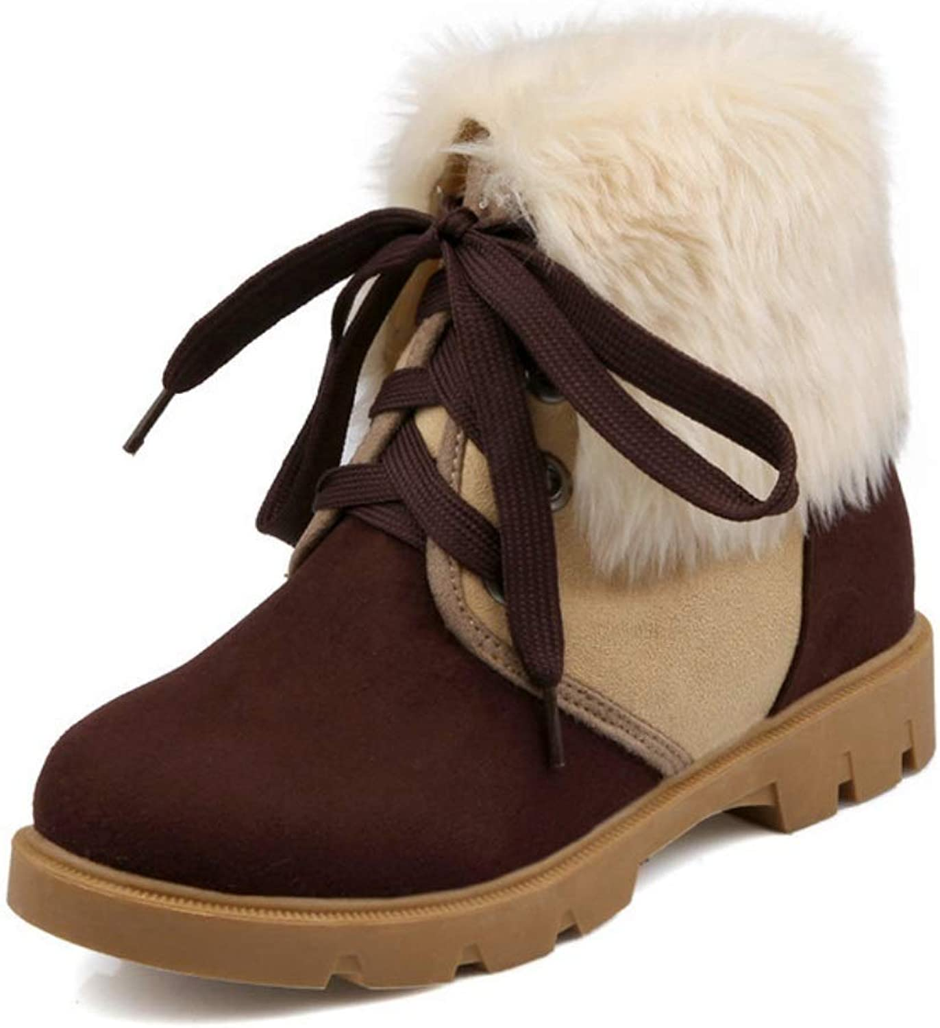 Women's Ankle Flanging Winter Snow Boots Women Warm Grip Sole Boots Outdoor Walking Non-Slip shoes Short Boots Suede Lace Up Wedge Creepers Boots