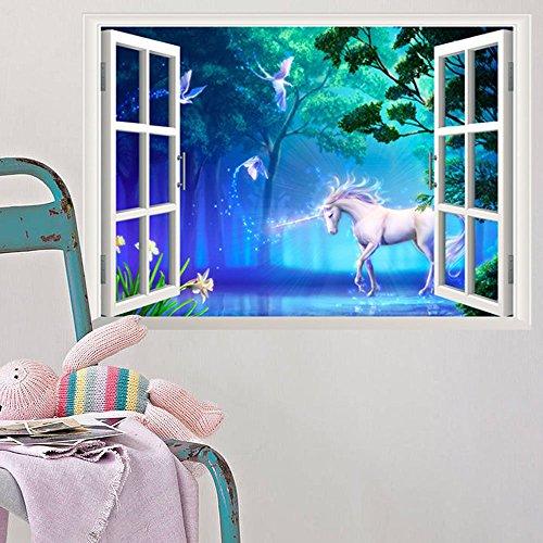 ufengke Sticker Muraux Licorne Blanche dans la Forêt Mythique 3D Autocollant Mural Vue D'Effet Spécial 3D en Dehors de la Fenêtre Décoration Amovible DIY Vinyle Mur Maison Stickers pour Salon Chambre