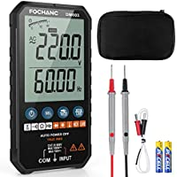Fochanc TRMS 6000 Counts Auto-Ranging Digital Multimeter with AC/DC Voltage Test, Resistance, Continuity, Capacitance, Diodes Temperature Measure, Case and Battery Included (DM003)