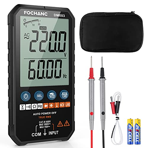 Digital Multimeter TRMS 6000 Counts Auto-Ranging, NCV with AC/DC Voltage Test, Resistance, Continuity, Capacitance, Diodes Temperature Measure, Case and Battery Included
