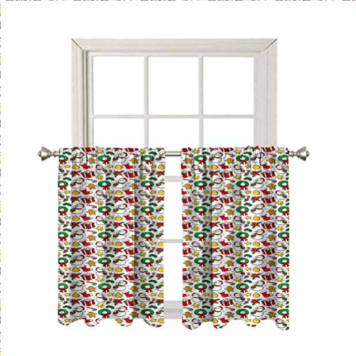 Christmas Blackout Curtain Window Valances,Poinsettia Flower Thermal Insulated Short Straight Drape Valance for Living Room Kitchen Bedroom,Rod Pocket,Matching Curtain Panels,42 x 36 Inch,2 Panels