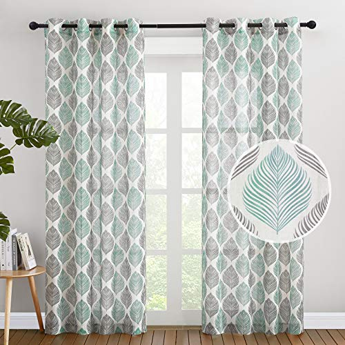 "NICETOWN Flax Linen Sheer Window Curtains 84"" Length for Dining Room, Grommet Green & Black Floral Pattern Rustic Vertical Drapes for Farmhouse, 50 Inches Wide, 2 Panels"