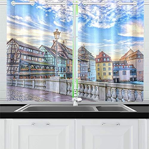QIAOLII Traditionelle Fachwerkhäuser auf Kanälen District Kitchen Curtains Window Curtain Tiers für Café, Bad, Wäscherei, Wohnzimmer Schlafzimmer 26 X 39 Zoll 2 Stück