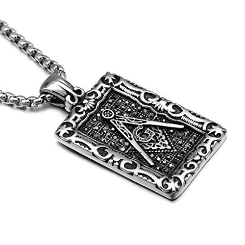 EZSONA Herren Edelstahl Freimaurer Hundemarke Anhänger Halskette 24 Zoll Kette (Silber)
