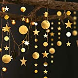 52 Fts Gold Twinkle Little Star Party Garlands Kit, Metallic Matt Gross Big Paper Circle Garland Bunting Banner Decorations for Birthday, Baby Shower, Wedding, New Year Party, Kids Room, Showcase