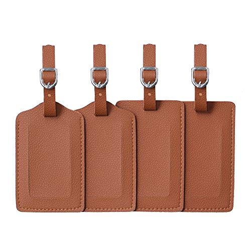 Luggage Tags, Microfiber Leather Personalized Suitcase Tag Set Luggage id Tags Labels Travel Accessories-Set of 4(Brown)