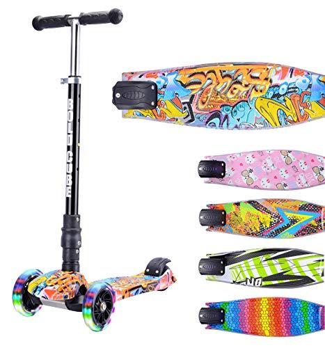 BOLDCUBE Dreirad Roller mit PU LED Räder - ab etwa 5 Jahre - 4 Stufen Einstellbare Höhe - Faltbar - der sichere Premium Kinder Roller - TÜV geprüft Kickboard Tretroller (Graffiti)