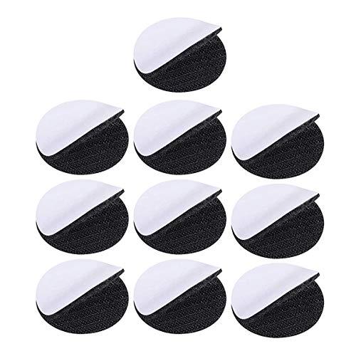 Supvox 10 Sets runde Klettverschluss-Klebeband, robust, doppelseitiges Klebeband, mit Klebeband, Schwarz