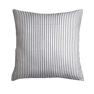 DKISEE Classic Farmhouse Throw Pillow Cover, Ticking Stripe Premier Navy & White Pillow Case, Cotton Duck Euro, Lumbar Pillowcase