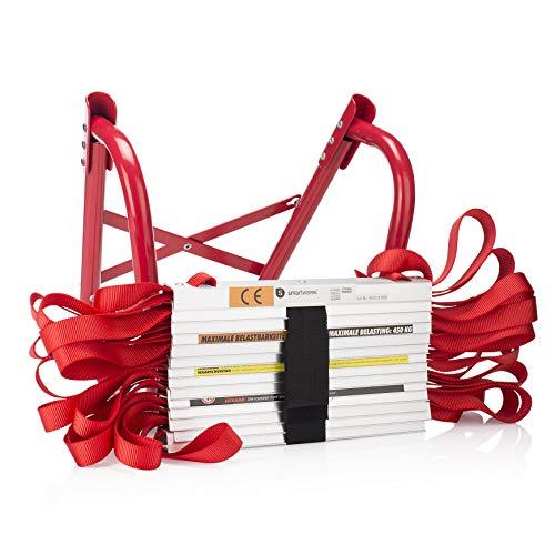 Smartwares 10.015.18, Escalera de emergencia de Incendios de 4,5 metros Incluye Ganchos, capacidad de 450 kg, BBVL, Rojo