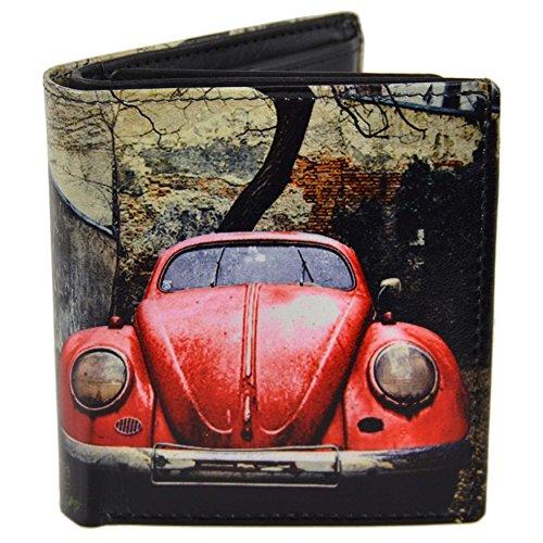 Herren-Geldbörse aus Leder von Retro, dreifach gefaltet, klassisch, mit rotem Auto, inkl. klassischer Geschenkbox
