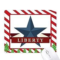 五線星形の自由のスローガンアメリカ カントリーシティ ゴムクリスマスキャンディマウスパッド