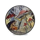 ART VVIES Reloj de Pared Redondo de 9,5 Pulgadas Que no Hace tictac silencioso Funciona con Pilas Oficina Cocina Dormitorio decoración del hogar-día de Lluvia de Erizo