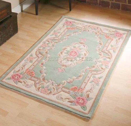 Chinesischer Teppich, Wolle in grün handgefertigt Traditionelles Aubusson-Design 60x 120cm oder 2'x4'
