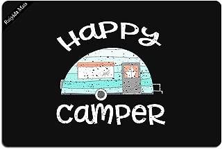 Happy Camper Retro Trailer RV Caravan Camping Doormat Entrance Floor Mat Funny Doormat Door Mat Decorative Indoor Outdoor Doormat Non-woven 23.6 By 15.7 Inch Machine Washable Fabric Top
