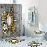 dodouna Steampunk Industrielle Graue Bad Duschvorhänge Für Badezimmer Wasserdicht Antik Instrument Beton Badvorhänge Matten 180x180cm